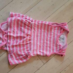 Jcrew baby tanktop dress onesie pink stripe 3-6 M